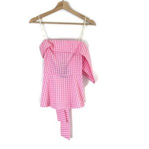 J.O.A. Just One Answer Gingham Pink Tie-Back Top